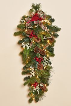 """32"""" Pine Teardrop Swag with 35-LED Lights, Red Berries, Natural Pine Cones, Red Cardinal and Red, Green and Ivory Bow"""