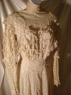 Antique Victorian Ivory Lace Dress Gown Summer Tea Wedding w Silk Petticoat #Handmade