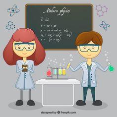 Niños en clase de ciencias Vector Premium.