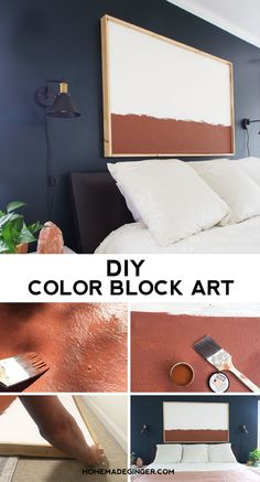 Make some DIY Color Block art on a giant canvas for your home. This home decor art project is so easy for a mid century modern look!