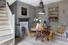 Traditional Dining Room by Chris Dyson Architects Dining Room Blue, Dining Room Design, Dining Chairs, Fireplace Hearth, Fireplace Surrounds, Fireplace Ideas, All Purpose Salon Chair, Marble Fireplaces, Living Room With Fireplace