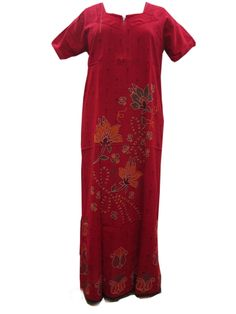 Maxi Sleepwear Nighty Bohemian Hippie Gypsy Long Cotton Red Nightgown