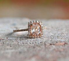Lilac pink cushion sapphire diamond ring