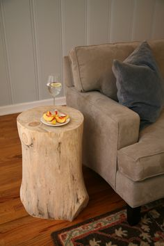 Side table made from wood stump.  doing this!  i have 2 peeled stumps waiting for finishing!