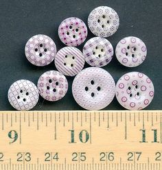 Ten Antique China Calico Buttons Purple on White
