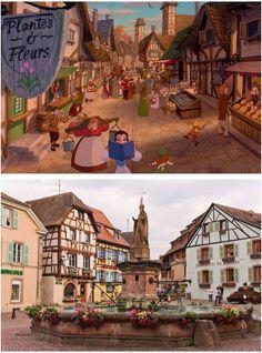 Alsacia, França. Essa pequena aldeia francesa é a menor região metropolitana da França, e acabou inspirando o conto graças à sua charmosa arquitetura.
