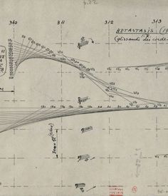 Iannis Xenakis's drawings. Iannis Xenakis: Composer, Architect Visionary brings together loads of Xenakis's drawings, and illustrates the clear debt his architecture owed to music and what his music took from his work as an architect