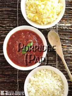 South African Recipes | Recipes for: Crumble Porridge (Krummelpap), Firm Porridge (Stywe Pap) and Milk Porridge (Melkpap). Banting Recipes, Halal Recipes, Vegetarian Recipes, Cooking Recipes, Healthy Recipes, South African Dishes, South African Recipes, Ethnic Recipes, Recipe Collection