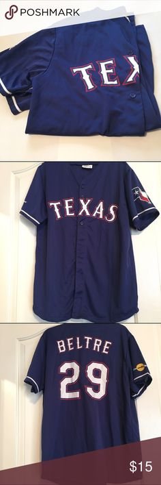 Texas Rangers Beltre Shirt This is a Texas rangers shirt (size men's XL, but is cute for women open with a tank top and shorts). It has never been worn. It buttons closed in the front. Shirts