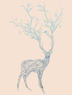 Blue Deer Art Print by Huebucket | Society6