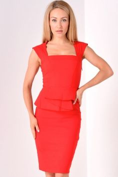Olivia Structured Peplum Midi Dress in Red