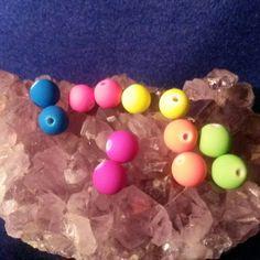 Fun colored glass beads #newjewlz #hempjewlz #hemp #jewelry #beads #glass #round #blue #green #purple #pink #yellow #orange