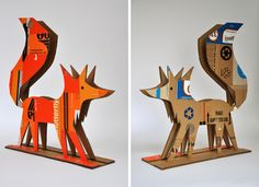 Cardboard Menagerie: part of sculpture project called Handle with Care