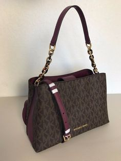 NWT MICHAEL KORS SIGNATURE PVC BROWN PLUM LARGE SATCHEL SHOULDER BAG CROSSBODY $189.0