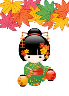 Fall Kokeshi Doll Art Print by Chibibi | Society6