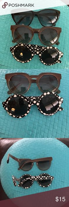 🖤Bundle of sunglasses💚 3 pair sunnies. All in nice condition.  2 Black 1 Brown. Solid black are igogs.  Other 2 are boutique brand. Boutique Accessories Sunglasses