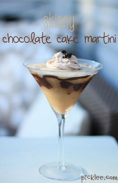 Skinny Chocolate Cake Martini - to make Low-Carb use Sugar-Free Butterscotch Syrup & Sugar-free Chocolate Syrup instead of the schnapps & liquor. Party Drinks, Cocktail Drinks, Fun Drinks, Yummy Drinks, Easy Cocktails, Martini Recipes, Cocktail Recipes, Drink Recipes, Cooking Recipes