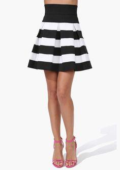 Sassy striped skirt.