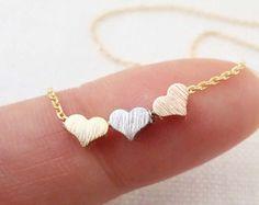 Winzige 3 Herzen Halsketten, gold, Silber, und Rotgold Herz auf gold oder Silber Kette... Daint, einfach, Geburtstag, Hochzeit, Brautjungfer Schmuck
