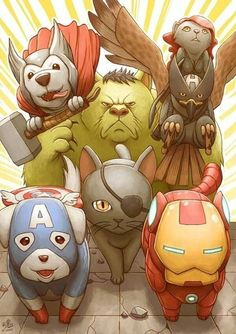 Animal Avengers, look at how cute Captain America is! He's like the cutest little doggy ever!