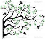 kuş çizimi — Yandex.Görsel – ağaç siluet uçan kuş ile.  Vektör sahibi starlight789.