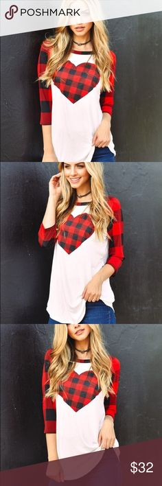 🆕 Valentines Plaid top red & black ❤️ Absolutely gorgeous and nice made in the USA plaid top with huge heart in the front , perfect for Valentine's Day or date! In stock and Ready to ship out! ASOS Tops Blouses
