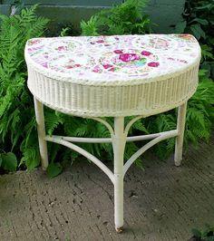 ANTIQUE WICKER TABLE SHABBY COTTAGE DECOR by hillspeak, via Flickr