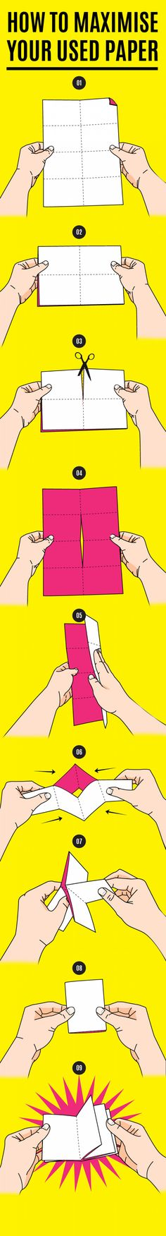 Make a mini notebook from any sheet of paper! #Infographic Saddle stitch binding 간단한 중철 제본이 되네요