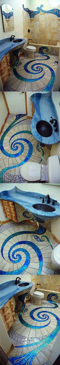Awesome Bathroom Floor- it may look awesome and you may love it but if you're ever looking to sell the place you may have to redo your amazing do, or be patient till you find someone that loves it as much as you so you don't take a hit for it..... just a thought.