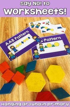 How to stop using boring worksheets! Classroom Projects, Math Classroom, Teaching First Grade, Teaching Math, Hands On Activities, Kindergarten Activities, Pattern Worksheet, Primary Maths, Teacher Inspiration