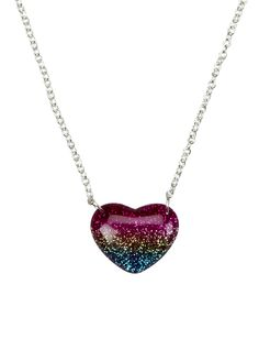 Ombre Glitter Heart Necklace | Necklaces | Jewelry | Shop Justice