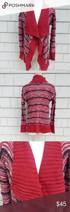 Romeo & Juliet Couture Cascading Cardigan Great condition  Textured stripes Cascading drape Ribbed shawl collar Mixed yarn & textures Body: 60% cotton & 40% acrylic  Contrast 1: 100% acrylic  Contrast 2: 100% polyester Romeo & Juliet Couture Sweaters Cardigans