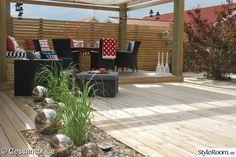 trädäck,altan,sittbänk,pergola,solsegel