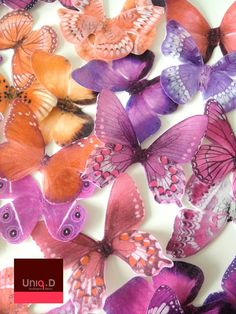 75 PRECUT edible butterflies - purple wedding - FREE SHIPPING - butterfly theme - orange wedding cake toppers by Uniqdots on Etsy