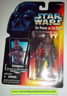 star wars action figures CHEWBACCA 1995 red card power of the force hasbro toys moc mip mib