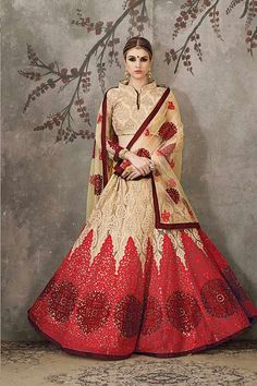 Beige & Red Color Pure Silk & Net Fabric Lehenga Choli - Hetal's Boutique