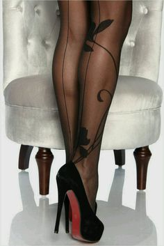 Christian Louboutin OFF!>> Black red bottoms with designer hose Silk Stockings, Stockings Heels, Nylons Heels, Black Stockings, Stiletto Heels, Stilettos, Pumps, Stockings Outfit, Sexy Legs And Heels