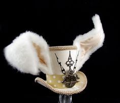 The White Rabbit –Beige and White Clockwork Bunny Eared Mini Top Hat Fascinator, Alice in Wonderland Mad Hatter Tea Party, Steampunk Cosplay