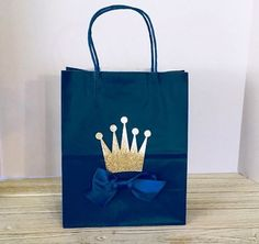 Royal Prince Party Favor Bag Large with Gold Crown and Royal Blue Satin Bow Little Prince Baby Shower, Birthday, Christening, Baptism Little Prince Party, Baby Prince, Royal Prince, Princess Birthday Party Decorations, Prince Birthday Party, Baby Birthday, Birthday Parties, Prince Party Favors, Party Favor Bags