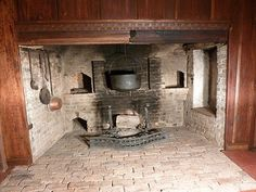 The Daniel Lummus House has the only existing First Period (or Pre-Revolutionary War) Inglenook fireplace with a built-in seat in the United States. We are almost finished restoring this fireplace - and the entire room back to its appearance. Kitchen Stove, Old Kitchen, Kitchen On A Budget, Kitchen Decor, Colonial Kitchen, Kitchen Interior, Inglenook Fireplace, Fireplace Wall, Fireplace Mantels