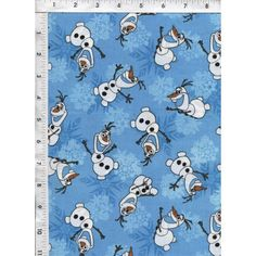 Fun and friendly snowman, Olaf, dances happily surrounded by gentle snowflakes on a blue background. Licensed fabric - Sold for non-commercial home use only. www.americasbestthreads.com