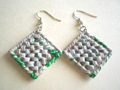 These cute earrings are made from recycled plastic bags!