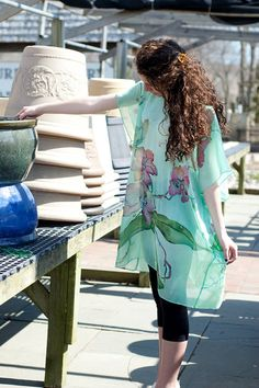 Hand Painted Silk Tunic Caftan Dress Mint Dress by SilkWonder
