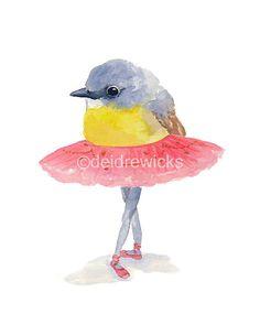 Titel: Ballett Birdie Nr. 33  Dieser Vogel Ballett steht an vierter Stelle. Ich wollte Degas berühmten Statue Little Dancer mit diesem Aquarell verweisen.  Der Vogel hatte in dieser Abbildung ist ein Goldbauchschnäpper.   ** DIES IST EIN DRUCK **  Größe: 8 x 10 (20 x 25 cm)  Gedruckt auf strukturierte Fine Art-Papier, das sehr ähnlich wie echtes Aquarellpapier aussieht.  Suchen Sie eine andere Größe? Dieser Druck ist auch als ein 5 x 7 oder 11 x 14.   Ich habe eine Reihe von Ballett Birdies…