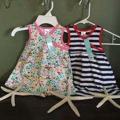 """ZUTANO TODDLER DRESSES Beautiful  """"2 """" ZUTANO dresses brand new with tags both are 12 months great for the summer light weight 100 % cotton beautiful prints great for the beach or a lazy summer day!   Zutano Dresses"""