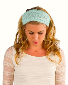 Lace Headbands Mint Lace Headband Womens Hair by ElizabethKoh. Our Bohemian Headbands make a beautiful hair accessory. Pair this headband with a summer dress or to use it to pull the hair from your face on a warm day! Pick up yours at www.elizabethkoh.com #headband #scarf  #hair #accessories #lace #teal