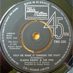 """7"""" 45RPM Help Me Make It Through The Night/If You Gonna Leave (Just Leave) by Gladys Knight"""