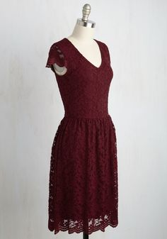 Pretty Policy Dress in Merlot. Satisfy all of your personal style criteria with this burgundy A-line! #red #modcloth