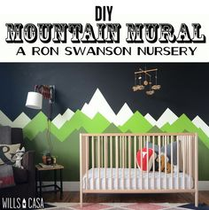 I love this DIY mountain mural. What I love more is the fact that it's for a Ron Swanson themed nursery.