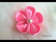 DIY kanzashi satin flower, wedding hair accessoire,kanzashi flower tutorial - YouTube